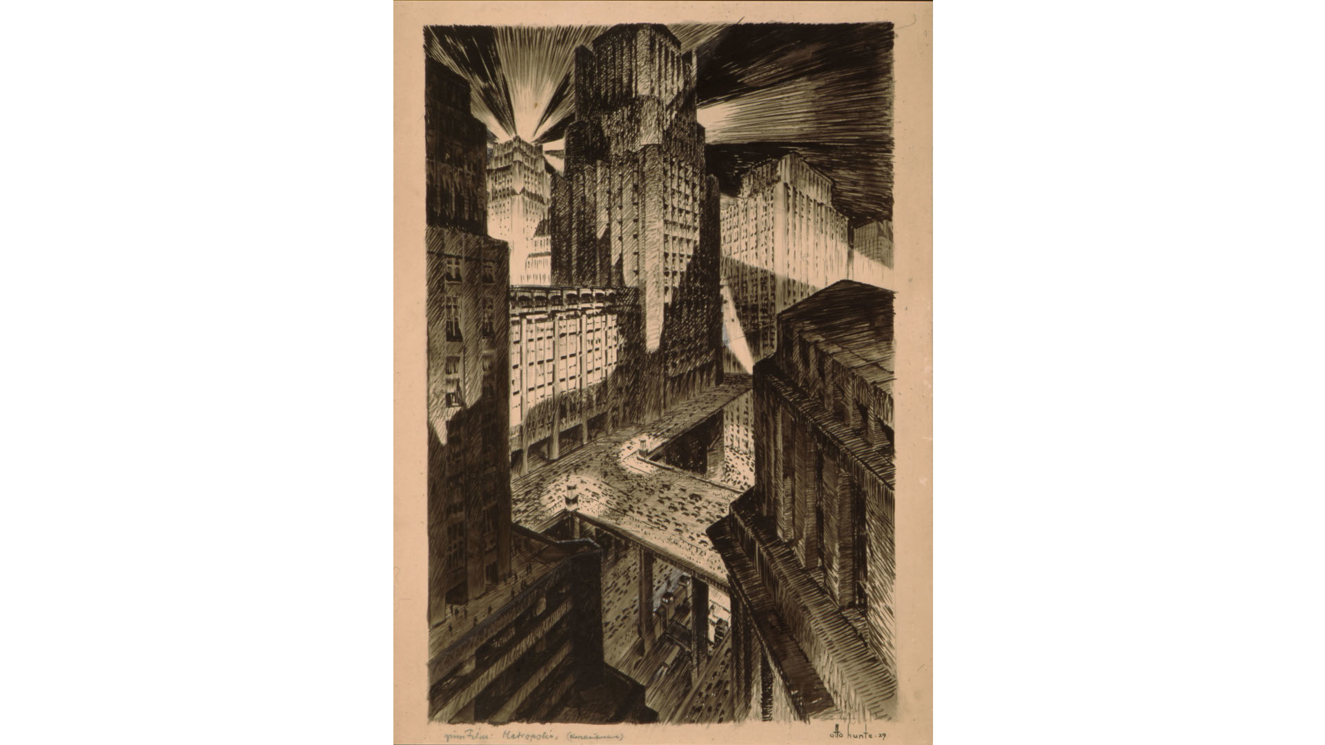 Entwurf zu METROPOLIS, von Otto Hunte auf 1929 datiert. DFF – Deutsches Filminstitut & Filmmuseum, Frankfurt am Main / Nachlass Otto Hunte