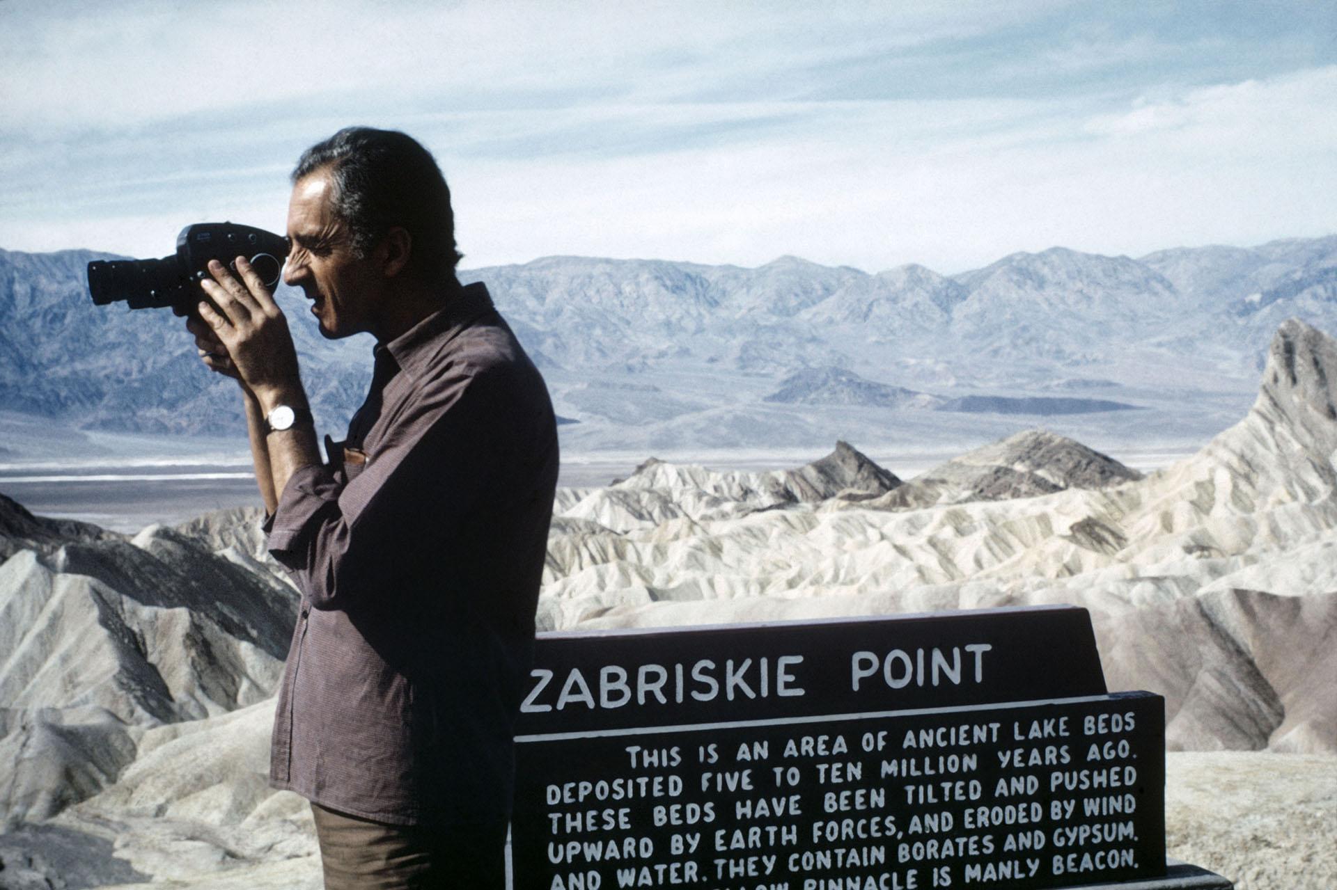 "Zabriskie Point: ©Bruce Davidson I Magnum Photos_NYC34433 USA. California. 1968. Italian film director Michelangelo ANTONIONI during the making of ""Zabriskie Point."""